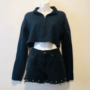 Navy Ribbed Collared Quarter Zip Crop Sweater